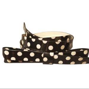 Kate Spade Black and Camel Polka Dot Bow Belt